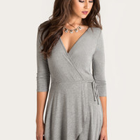 Penny Grey Wrap Dress