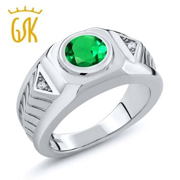 men ring return to the ancients fashion jewelry 1.68 Ct Round Green Simulated Emerald 925 Sterling Silver Men's Ring square ring