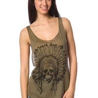 Indian Skull Tank Top - Olive Green at Lucky 21 Lucky 21