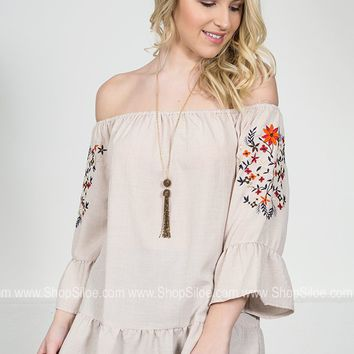 Spring Floral Embroidered Top