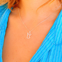Sterling Silver guardian angel protection necklace,dainty angel, baptism gift, confirmation gift, religious gift, first communion