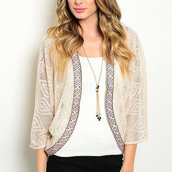 Cream Lace Embroidered Cardigan