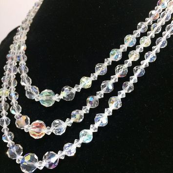 Aurora Borealis Crystal Bead Necklace, Triple Strand, Faceted Graduated Glass Beads, Mid Century Bridal Jewelry, Silver Tone Setting 618ms