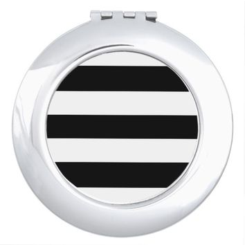 Black White Stripes Compact Mirror