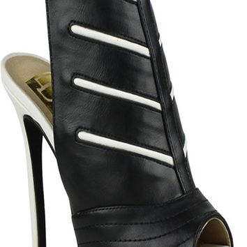 BLACK PEEP TOE FAUX LEATHER MATERIAL SIDE BUCKLE STRAP BOOTIES
