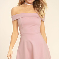 Season of Fun Blush Pink Off-the-Shoulder Skater Dress