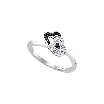 Sterling Silver Womens Round Black Colored Diamond Double Heart Ring 1/12 Cttw