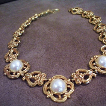 Carol Dauplaise Necklace Faux Pearl Cabochons 1960s Mid Century High Fashion Designer Necklace Wedding Bride Bridal White Christmas Jewelry