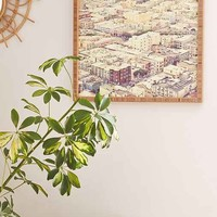 Shannon Clark For DENY San Fran Roof Tops Framed Wall Art- Ivory 20in. Sq