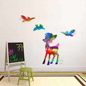 kcik2102 Full Color Wall decal Watercolor Bambi Character Disney Sticker Disney children's room Fawn