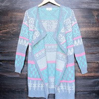 FINAL SALE - bright aztec / tribal print drape open front cardigan
