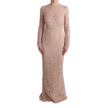 Dolce & Gabbana Pink Floral Lace Sheath Long Dress