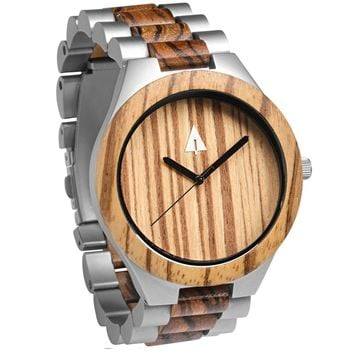 Stainless Steel Wood Watch // Silver River