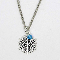 Christmas / Winter / Snowflake Necklace/ Frozen Necklace/Silver Snowflake Necklace with blue crystal bead