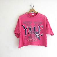 vintage 1980s pink YALE cropped tshirt / free size