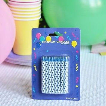 """48 Blue Candy Striped Birthday Candles 2"""" Candle Stick Cake Topper Aqua White"""