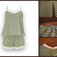 MildDream Pajamas Set In Green Color With Dots/ With Original Lace/ Hand Made