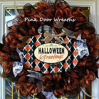 Halloween Greetings Mesh Door Wreath; orange, black, silver - Ready to Ship RTS