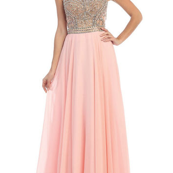 Blush and Jade Prom Dress with Open Back 2016