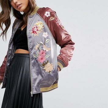 Miss Selfridge Satin Embroidered Bomber Jacket at asos.com