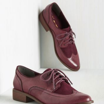 BC Footwear Every Day of the Sleek Oxford Flat in Burgundy   Mod Retro Vintage Flats   ModCloth.com