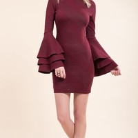 Women's Fitted Sweater Dress with Tiered Bell Sleeves