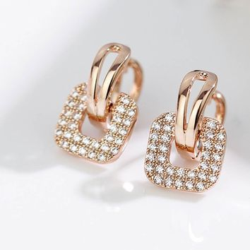 Fashion Silver Gold color Full Crystal Rhinestone Square Stud Earrings For Women Temperament Statement Jewelry Piercing Earring