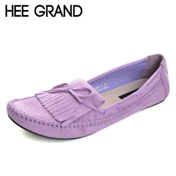HEE GRAND Candy Color Women Loafers Tassel Fashion Round Toe Ladies Flat Shoes Woman S