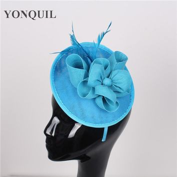 High quality 17 colors sea blue hair fascinators for short hair sinamay fascinators hats wedding hair accessories occasion hats