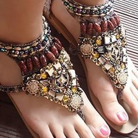 Bohemian Style Flat Sandals  from sniksa