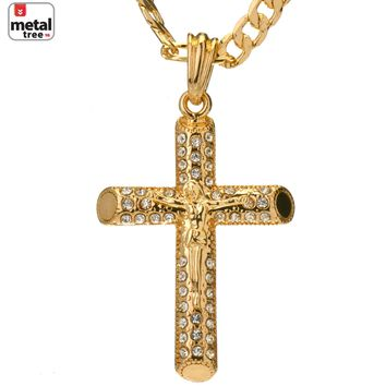 Jewelry Kay style Men's Hip Hop Iced Out Mini Jesus Cross 5mm Figaro Chain Pendant Necklace Set