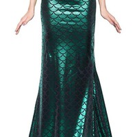 Magical Mermaid Green Tail Scale Pattern Maxi Skirt
