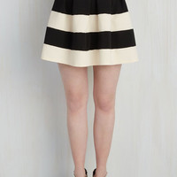 Vintage Inspired Short Length Full Stripe It Lucky Skirt in Black White
