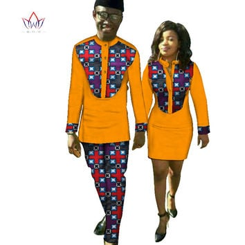 New Lovers Womens Mens African Clothing Two Sets Matching Couples African Clothes long Sleeve summer wedding dress BRW  WYQ37