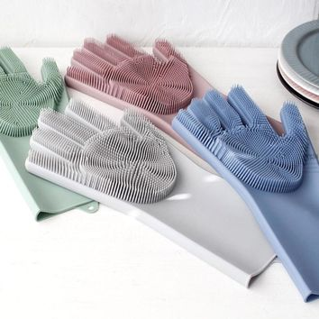 2 in 1 Magic Silicone Rubber Dish Washing Gloves Eco Scrubber Cleaning Multipurpose Sponge For Kitchen Bathroom Drop