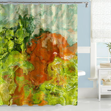 Abstract art shower curtain, green, orange, and cream shower curtain, contemporary shower curtain, Friends