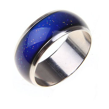 Stainless Ring Changing Color Mood Rings Feeling / Emotion Temperature Ring Wide 6mm Smart Jewelry Factory direct sale -0330