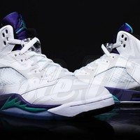 Air Jordan 5 Retro AJ5 White/Purple/Blue Men Basketball Shoes