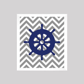 Nautical Nursery Decor, Baby Boy, Wheel, Gray and Navy, Art, CUSTOMIZE YOUR COLORS 8x10 Prints Nursery Decor Print Art Baby Room Decor Kids