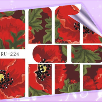 Nail Sticker WATER DECAL CONSTELLATION ZODIAC SIGNS FLORAL PATTERN ROSES RU224-229