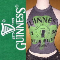 Vintage Guinness tee upcylced to an open back halter top ladies xs/small