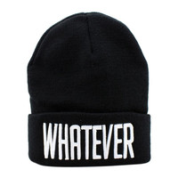 Black and White WHATEVER Beanie Hat And Snapback Men And Women Cap