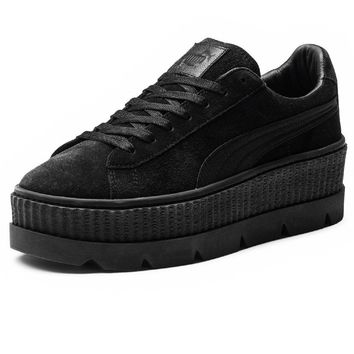puma fenty by rihanna womens cleated creeper suede black