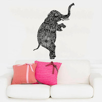 Wall Decal Vinyl Sticker Decals Art Home Decor Mural Indian Elephant Floral Patterns Mandala Ganesh Buddha Lotus Yoga Art Bedroom Dorm AN576