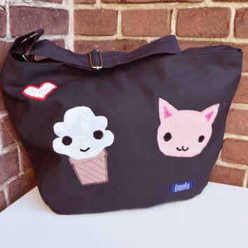 Bike crossbody bag bike messenger bag cycling bag applicated cute kitty cat animal ice cream muffin sweet adorable gray 1.1 BASIC COLLECTION