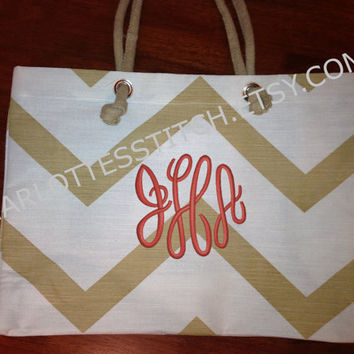Monogrammed Beach Tote - Gold and White Chevron