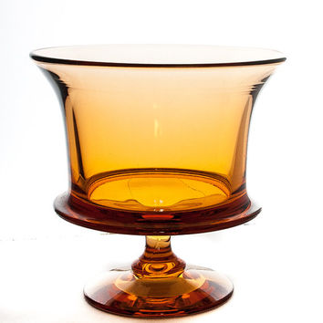 VASE. GLASS VASE. Flower Vase. Amber Glassware. Amber Glass Vase. Pedestal Vase. Urn Shaped Vase. 7 X 7 Vase. Wide Mouth Vase.