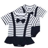 Twins Bowtie Striped Rompers