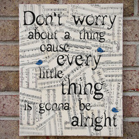 Lyrics Canvas Wall Art - Bob Marley - Three Little Birds-Don't worry About a Thing