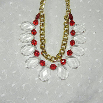 Ruby Red Gold and Clear White Faceted Teardrops Statement Necklace on Gold Big Links Chain